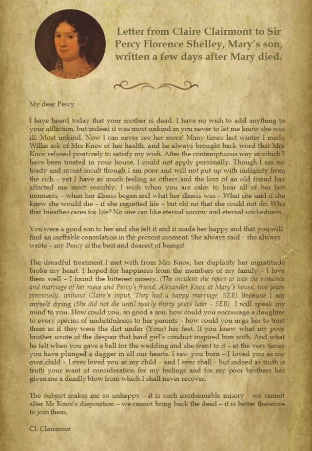 claire clairmont letter
